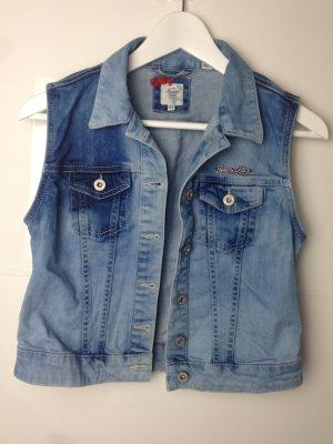 American Vintage Denim Vest cornflower blue-steel blue cotton