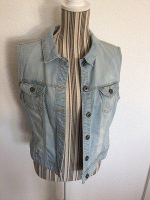 Edc Esprit Gilet en jean bleu clair-bleu azur coton