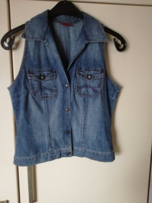 Mustang Denim Vest neon blue-steel blue cotton