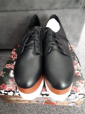 Jeffrey Campbell Zapatos brogue negro-blanco Cuero