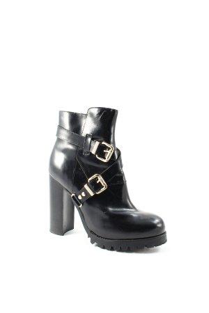 Jeffrey Campbell Ankle Boots schwarz-goldfarben Street-Fashion-Look