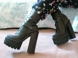 Jeffrey Campbell Bottines à lacets gris anthracite