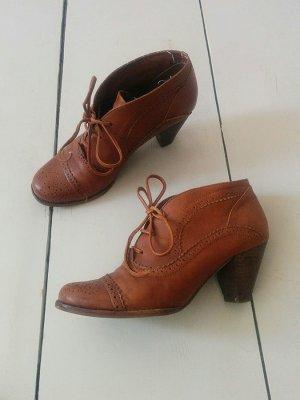 Jeffrey Campbell Gr. 38 Halbschuh Budapester Style Braun Leder Ankle Boot Boho