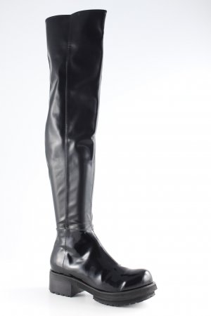 Jeffrey Campbell Botas sobre la rodilla negro estilo extravagante