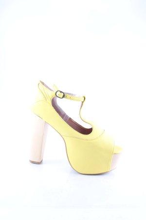 Jeffrey Campbell Plateau-Sandaletten gelb-hellbeige extravaganter Stil