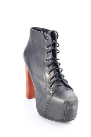 Jeffrey Campbell Plateau-Stiefeletten schwarz-cognac Street-Fashion-Look