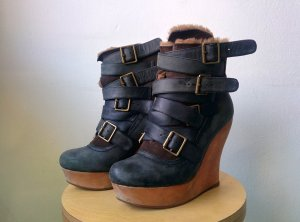 Jeffrey Campbell Boots dark blue-brown imitation leather