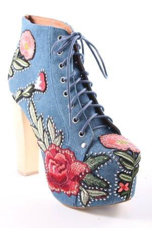 Jeffrey Campbell Schnür-Stiefeletten himmelblau florales Muster