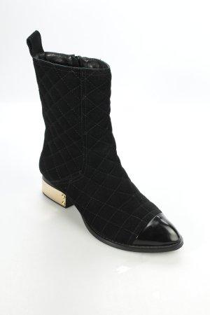 Jeffrey Campbell Stiefeletten schwarz-goldfarben Steppmuster klassischer Stil