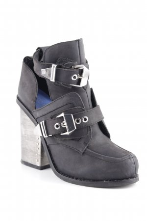 Jeffrey Campbell Loafers black-silver-colored extravagant style