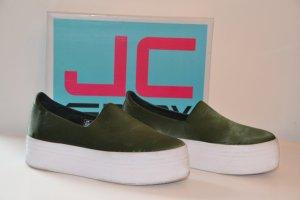 Jeffrey Campbell Upper Canvas Sneaker 39 Satin Green
