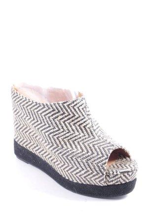 Jeffrey Campbell Wedge Sandals black-oatmeal zigzag pattern beach look