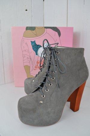 JEFFREY CAMPELL Damen Plateau Boots Mod.Lita Stiefelette Grau Wildleder Gr.40