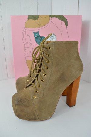 JEFFREY CAMPELL Damen Plateau Boots Mod.Lita Stiefelette Taupe Wildleder Gr.38