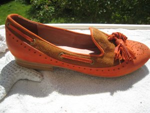 Jeffrey Campbell Mocassins orange foncé-brun cuir