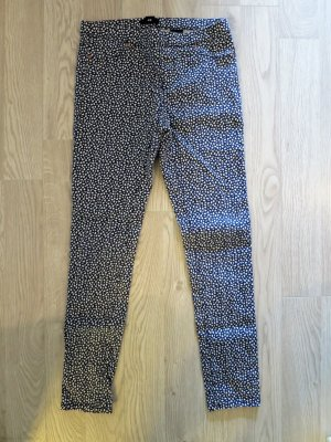 H&M Jeggings azul oscuro-blanco Algodón