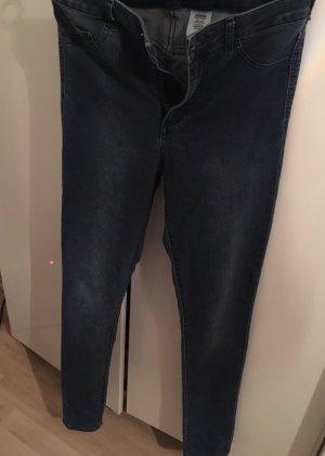 H&M Hoge taille jeans donkerblauw Katoen