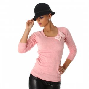 Jela London Pullover Spitze Salmon Pink One Size 36 38
