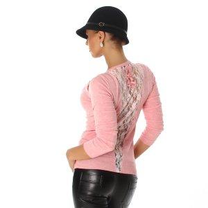 Jela London Crewneck Sweater neon pink viscose
