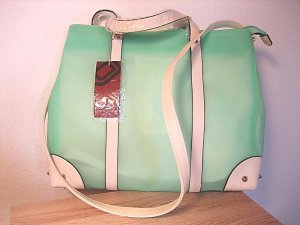 David Jones Shopper lime-green-natural white
