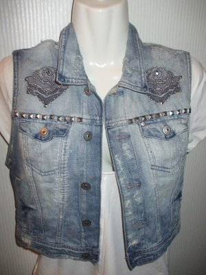 H&M Denim Vest slate-gray cotton