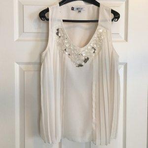 Jennifer Lopez V Top Bluse mit Steinchen / Perlen Details Gr S weiß
