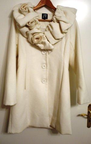 Jennifer Taylor Wintermantel Creme Weiß Gr. 38 S/M Hochzeit Rüschen Shabby Chic