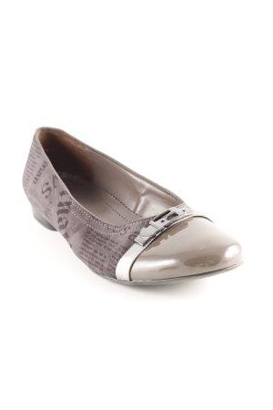 Jenny Ballerines pliables gris brun-brun foncé motif abstrait élégant