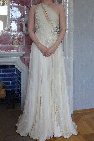 Jenny Packham Gatsby Vintage Brautkleid Schlitz Strass ivory weiß creme 36