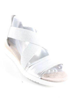 Jenny Plateau-Sandalen silberfarben-weiß Metallic-Optik