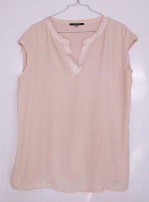 Jersey Chiffon Top Shirt Comma, Größe M 40 Rose Nude V-Neck Satin Double