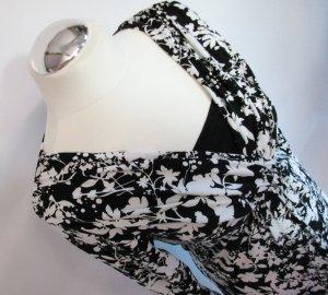 Jersey Kleid Gina Benotti Größe S 36 38 Schwarz Weiß Wickel Optik Midikleid Blumen Ärmel Viskose V Neck