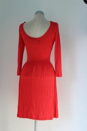 Vestido de tela de jersey rojo-salmón