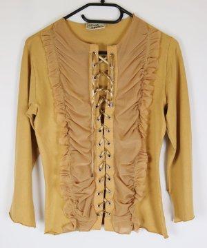 Jersey Mesh Schnürung Bluse Tunika Crazy World Größe L 40 42 Beige Sand Nude Western Cowgirl Look Shirt