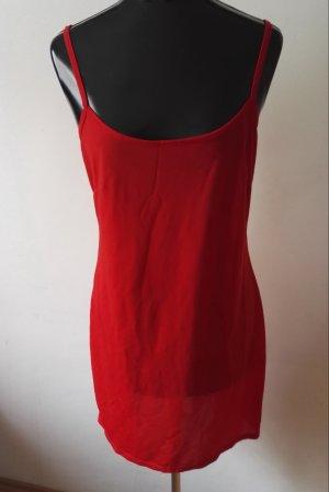 Jersey Minikleid Träger Kleid Negligees Nachtkleid in Rot Gr.38/40