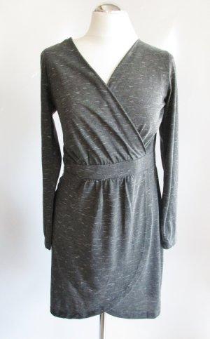 Jersey Minikleid Tunika Gina Benotti Größe S 36 38 Grau Weiß Meliert Kleid Lagenlook Etui Stretch Langarm