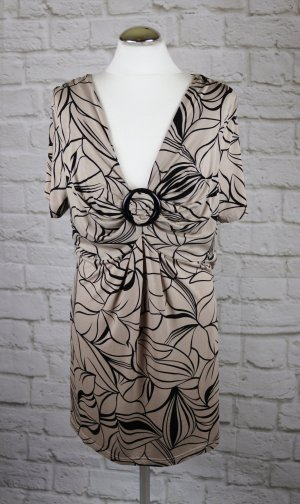 Jersey Shirt mit Knoten bpc Größe XL 44 46 Schwarz Beige Spange Retro Tunika Top Blumen V Neck Drapee`