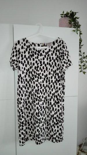 Jersey Stretch Kleid H&M schwarz weiß gold Punkte Dalmatiner