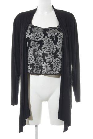 Jersey Twin Set schwarz-silberfarben florales Muster Casual-Look