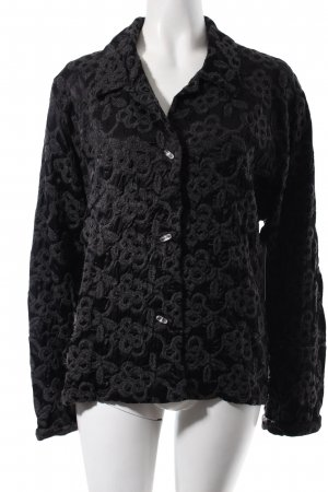 Jerseyblazer grau-schwarz florales Muster Elegant