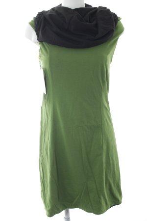 Jerseykleid grün-schwarz Lagen-Look
