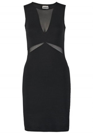 Jerseykleid in Schwarz mit transparente Einsätze