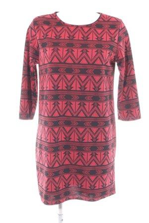 Abito jersey rosso neon-nero Motivo Azteco stile casual