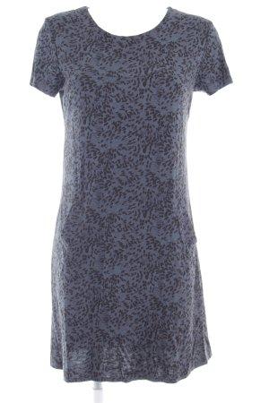 Jerseykleid petrol-schwarz abstraktes Muster Casual-Look