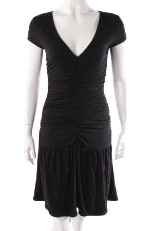 Jerseykleid Raffungen schwarz