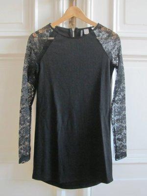Jerseykleid Spitze schwarz