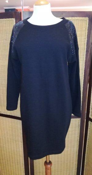 Rich & Royal Vestido de tela de sudadera negro Algodón