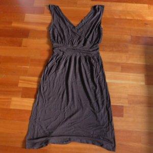 Midi-jurk donkerbruin Viscose