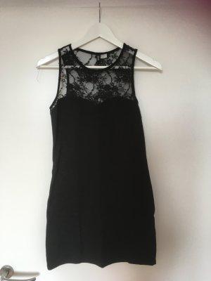 Jerseykleid von H&M in schwarz/Spitze