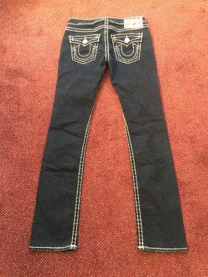 True Religion Jeans vita bassa blu scuro-bianco Tessuto misto